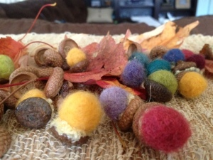 felted acorn decorations