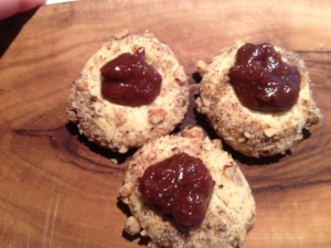 Thimble Cookies with Chocolate Pear Jam