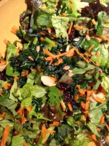 winter salad with kale, carrots, dried apples, cranberries and sunflower seeds