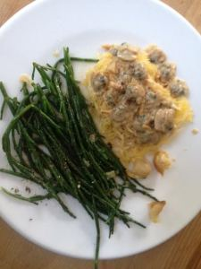 Garlic sautéed Sea Asparagus, Spaghetti Sqaush with Creamy Razor Clam Sauce.